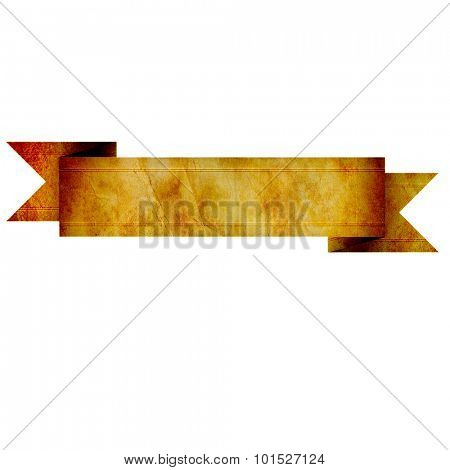 old paper use as label banner on white background