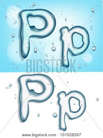 alphabet water, letter p
