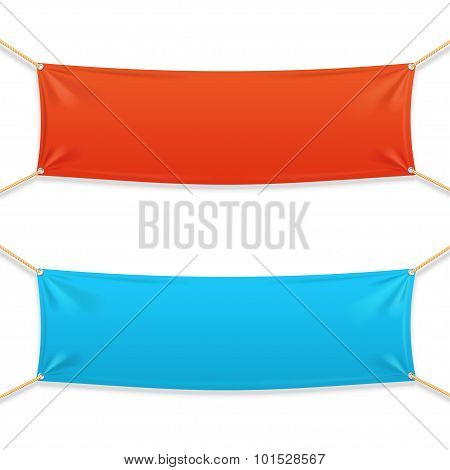 Fabric Rectangular Horizontal Banner with Ropes. Vector