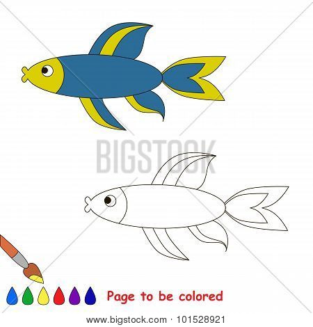 Blue fish. Coloring book for children.