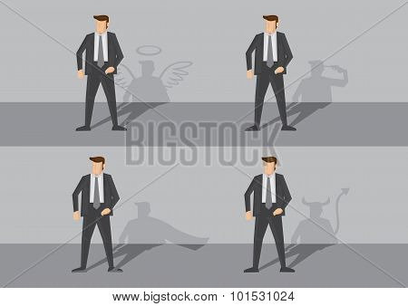 Businessman And His Shadow Vector Illustration