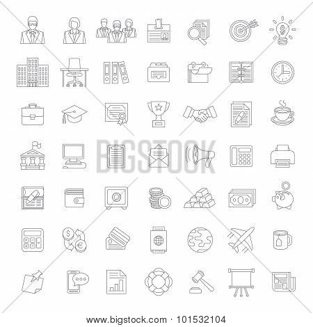 Flat Thin Line Business And Finance Icons