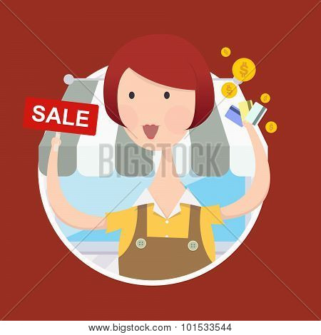 Woman working  with sale sign