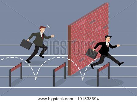 Businessman Jumping Over Hurdle Competition