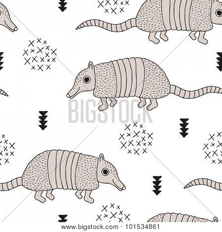 Seamless armadillo wildlife animals illustration with indian arrows and geometric abstract details black and white background pattern in vector