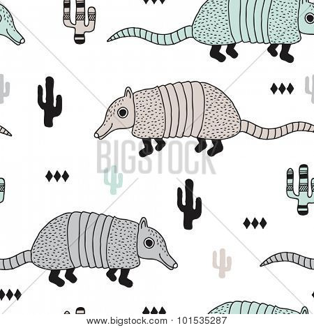 Seamless armadillo wildlife animals illustration with cactus and geometric abstract details pastel mint background pattern in vector