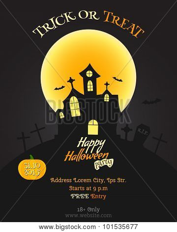 Happy Halloween party poster, flyer, banner. Celebration card. Trick or treat text. With pumpkin, ba
