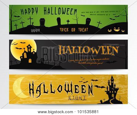 Three Halloween banners. Green, dark and orange designs. Can be use on web, print. As invitation, fl