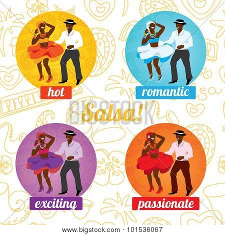 Salsa dancing poster for the party. Cuban couple, palms, musical instruments