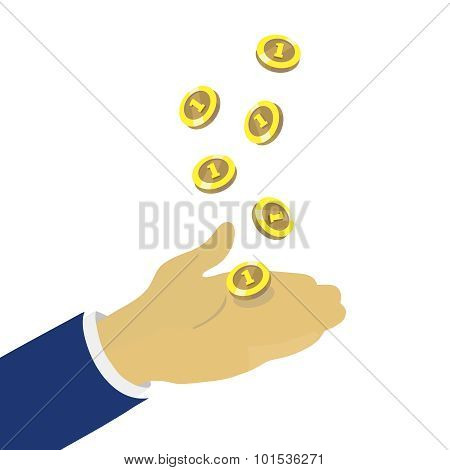 Hand throwing up golden coins