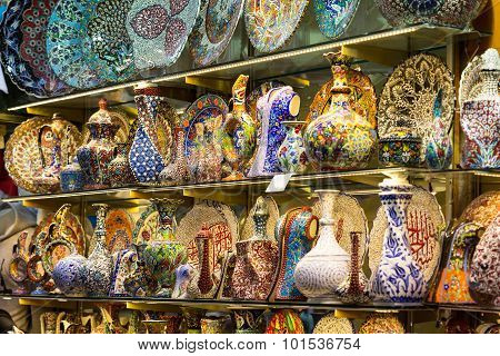 Various Products Of National Crafts On Grand Bazar In Istanbul