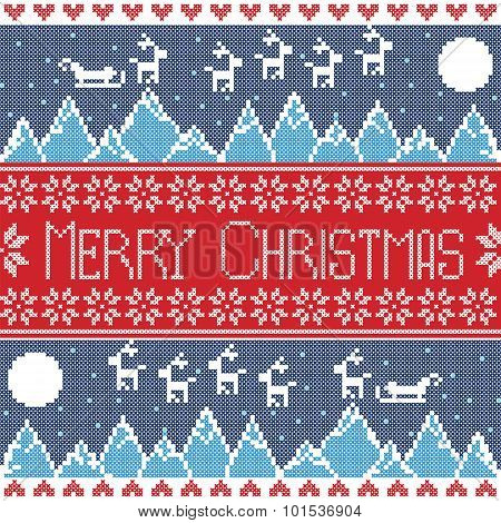 Blue, red and dark blue Scandinavian Merry xmas seamless nordic pattern with winter mountains view,