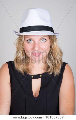 Beautiful Young Woman Wearing Summer Fedora Straw Hat