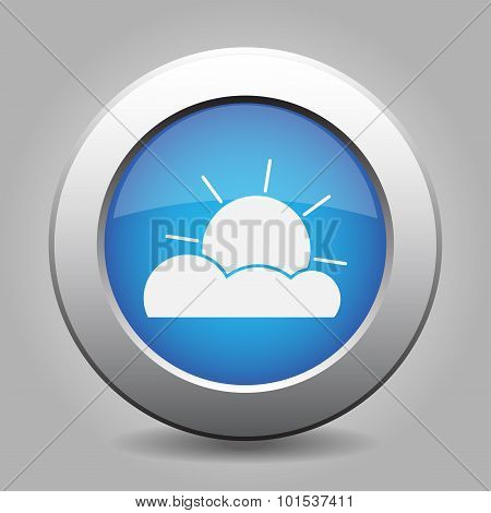 Blue Metal Button With Weather - Partly Cloudy