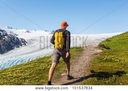 Hiker in Exit Glacier, Kenai Fjords National Park, Seward, Alaska
