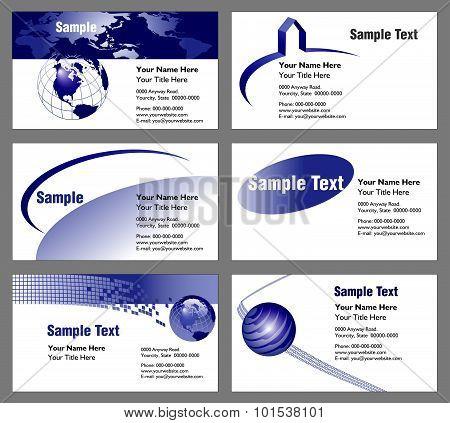 Six business card templates