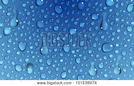 Blue Background Of Water Drops