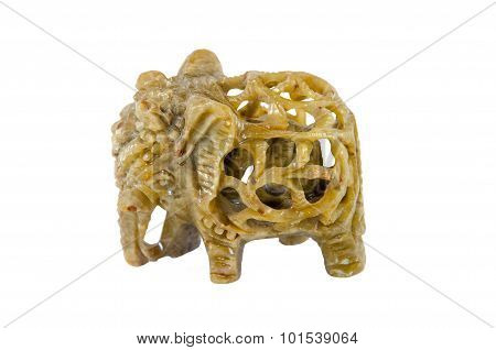 Elephant Carved Into The Back Of An Elephant Made Of Semiprecious Stones Onyx