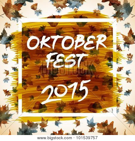 Patch With Checkered Pattern And Text Oktoberfest 2015