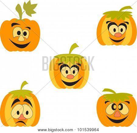 Isolated Orange Pumpkins, Cartoon Pumpkins