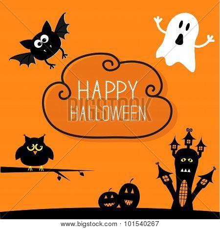 Haunted House, Pumpkins, Owl, Bat, Ghost. Cloud In The Sky Halloween Card. Orange Background Flat De