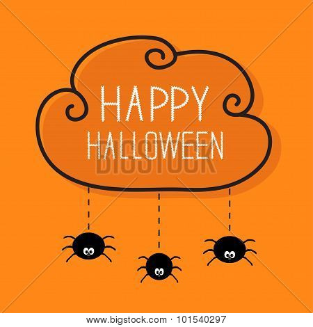Three Hanging Spiders. Happy Halloween Card. Cloud Frame Dash Line Orange Background