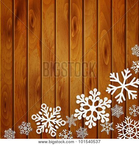 Christmas Background With Snowflakes On Wooden Planks