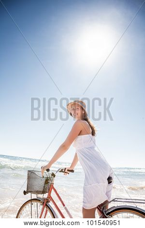 carefree female enjoying summer sea freetime