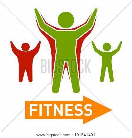 Slim and Fat Peple Figires. Fitness Progress Body. Vector
