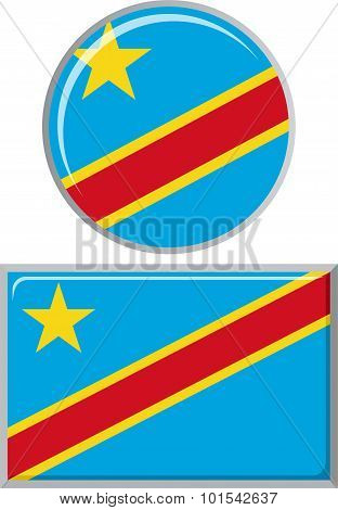 Congolese round and square icon flag. Vector illustration.