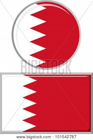 Bahraini round and square icon flag. Vector illustration.