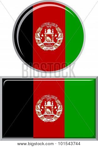 Afghanistan round and square icon flag. Vector illustration.