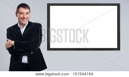 Cheerful Young Businessman Showing Blank Pc Monitor