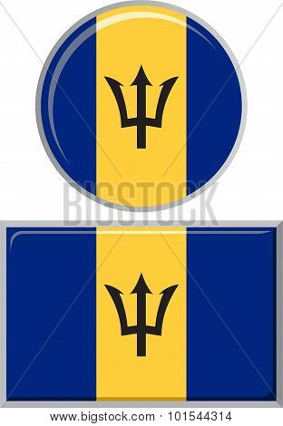 Barbados round and square icon flag. Vector illustration.