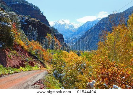 Scenic back road in San Juan mountains