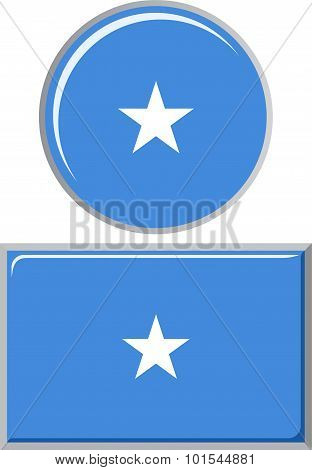 Somali round and square icon flag. Vector illustration.