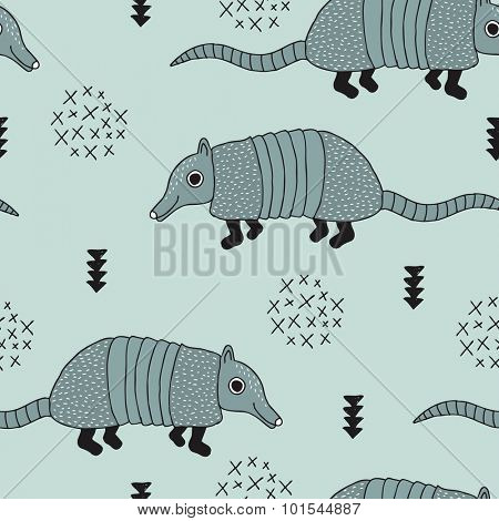 Seamless armadillo wildlife animals illustration with indian arrows and geometric abstract details mint background pattern in vector