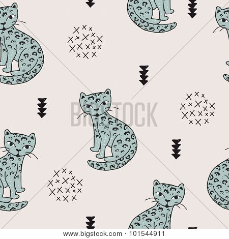 Seamless wildlife animals tiger panther leopard cat illustration with geometric scandinavian style details kids background mint pattern in vector