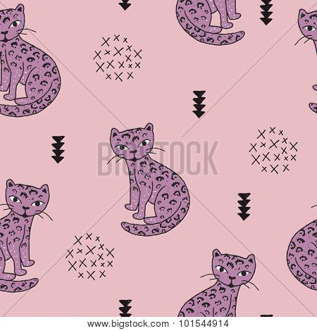 Seamless wildlife animals tiger panther leopard cat illustration with geometric scandinavian style details kids background pattern in vector