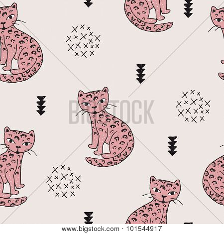 Seamless wildlife animals tiger panther leopard cat illustration with geometric scandinavian style details kids background pink pattern in vector