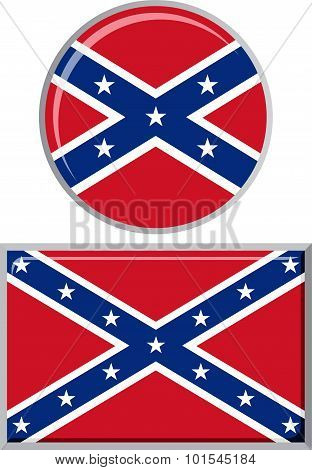 Confederate States of America round and square icon flag. Vector illustration.