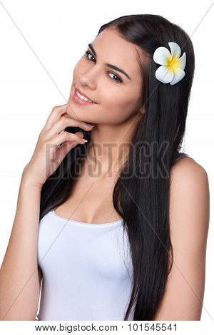 Teen female with Plumeria Flower