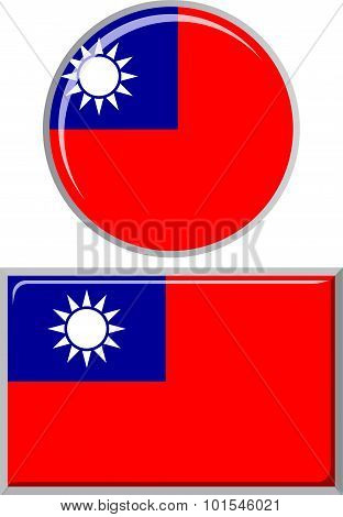 Taiwan round and square icon flag. Vector illustration.