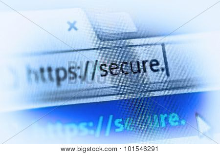 https on computer screen - internet security concept