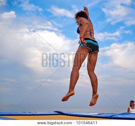 Flying Girl Over Beautiful Sky