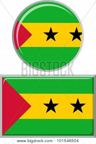 Sao Tome and Principe round, square icon flag. Vector illustration.