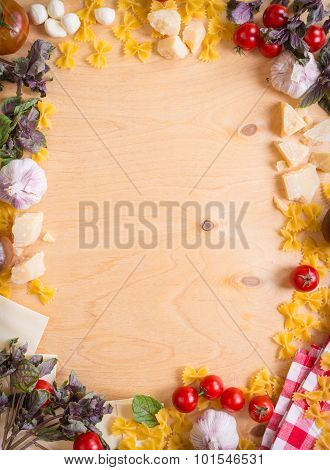 Rustic Wooden Food Background With Italian Food Ingredients