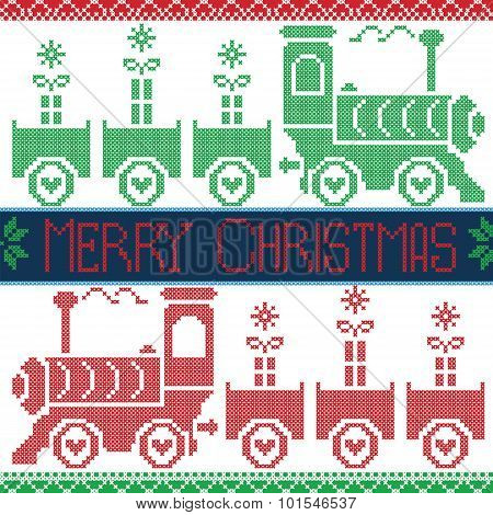Dark blue, red and green Merry Xmas  Scandinavian Christmas Nordic Seamless Pattern with gravy train