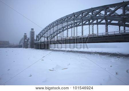 Peter the Great bridge in winter