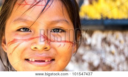 Cute Brazilian indian girl in Amazon, Brazil